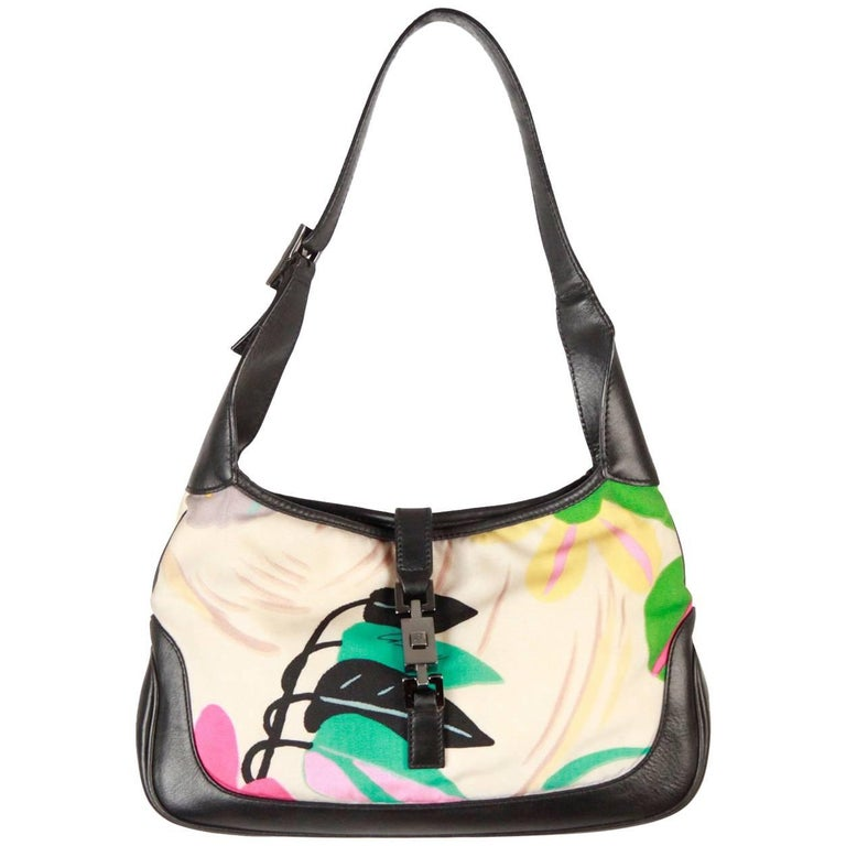 GUCCI Floral Canvas & Black Leather HOBO JACKIE O