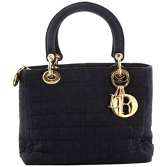 Christian Dior Lady Dior Handbag Cannage Quilt Nylon Medium