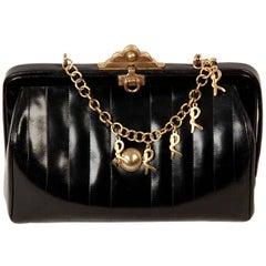ROBERTA DI CAMERINO VINTAGE Black Leather SHOULDER BAG w/ Chain Strap