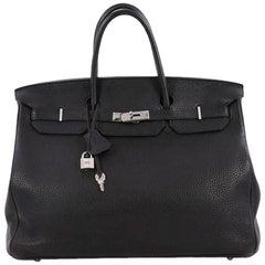Hermes Birkin Handbag Black Togo with Palladium Hardware 40