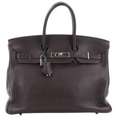 Hermes Birkin Handbag Cafe Clemence with Palladium Hardware 35