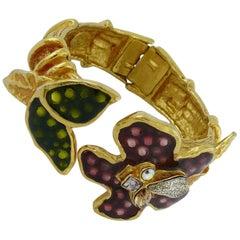 Christian Lacroix Vintage Enamel Flowers Clamper Bracelet