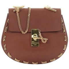 Chloe Drew Crossbody Bag Chain Embellished Leather Small