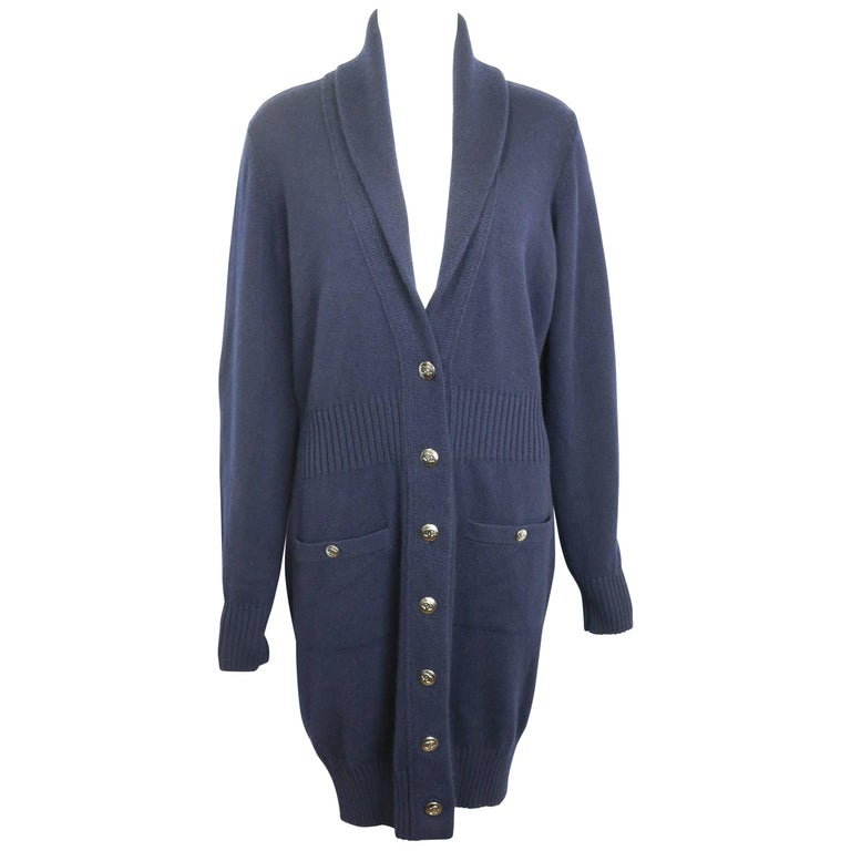 Chanel Navy Cashmere Long Sleeves Knee Length Long Cardigan For ...
