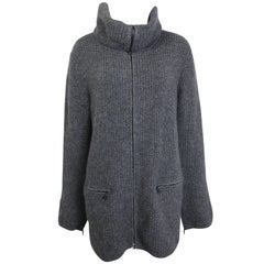 Fall 2003 Chanel Grey Wool and Cashmere High Neck Zippers Long Cardigan