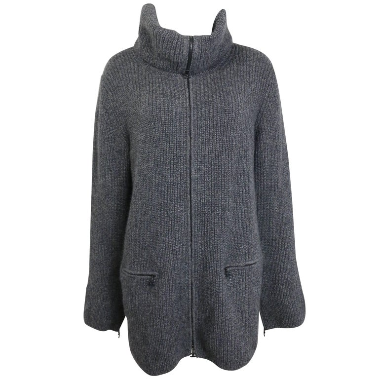 Chanel Grey Wool and Cashmere High Neck Zippers Long Cardigan