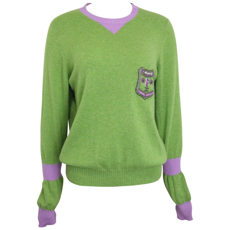 Chanel Green and Purple Cashmere Sweater For Sale at 1stdibs