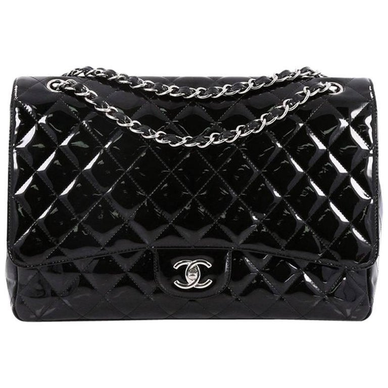 360d1b437907 Chanel Classic Quilted Patent Maxi Single Flap Bag at 1stdibs