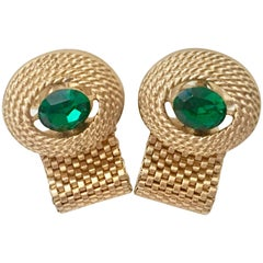 60'S Gold Plate Metal Mesh & Emerald Swarovski Crystal Cuff Links By, Dante
