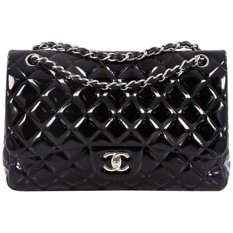 4ab98058fda6 Chanel Classic Double Flap Bag Quilted Patent Jumbo at 1stdibs