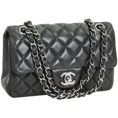 CHANEL 'Timeless' Flap Quilted Bag in Black Smooth Lamb Leather