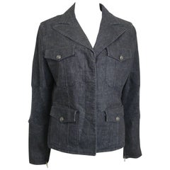 Chanel Grey Denim with Wool Sleeves Jacket