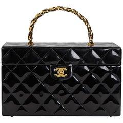 1990s Chanel Black Patent Leather Vintage Timeless Vanity Handbag Case