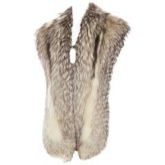 1980S Silver Fox Fur Stole Scarf