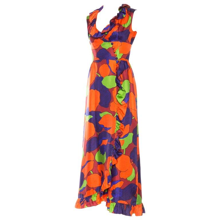 1960s Ruffled Silk Dress