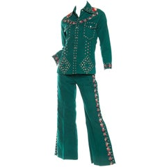 Gucci Style 1970s Studded Denim Suit with Floral Embroidery