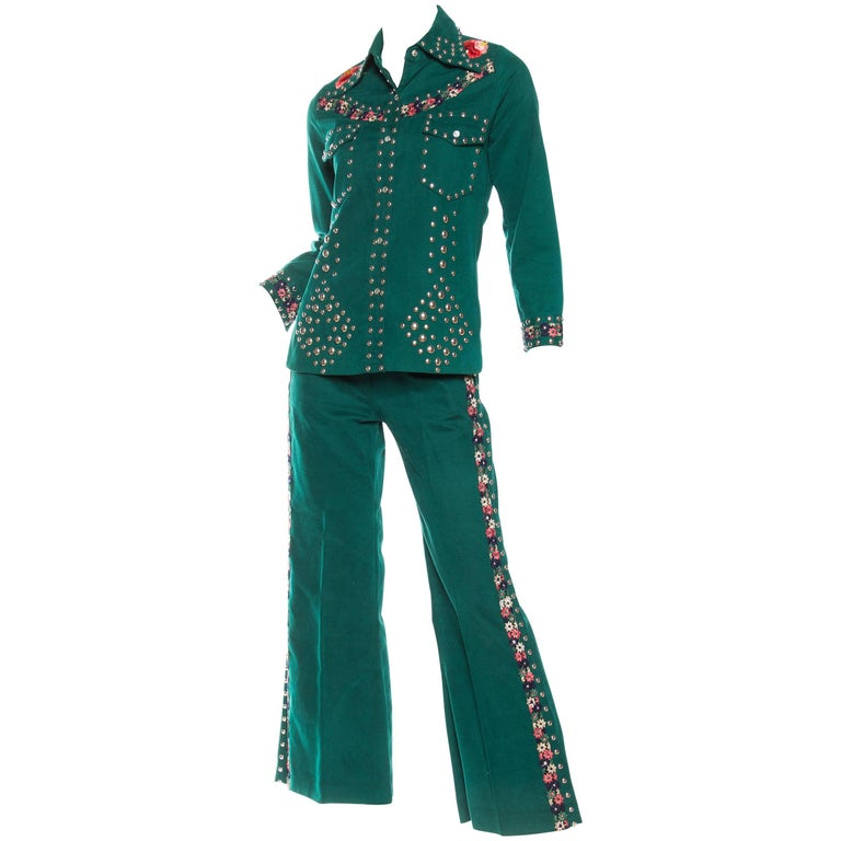 1970s Studded Denim Suit with Floral Embroidery