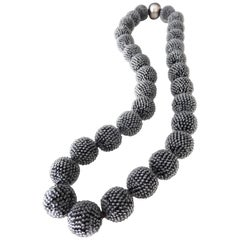 Wiener Werkstatte Gray Glass Beaded Necklace, circa 1925