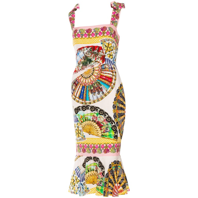 Dolce & Gabbana 1990s Fan Print Dress