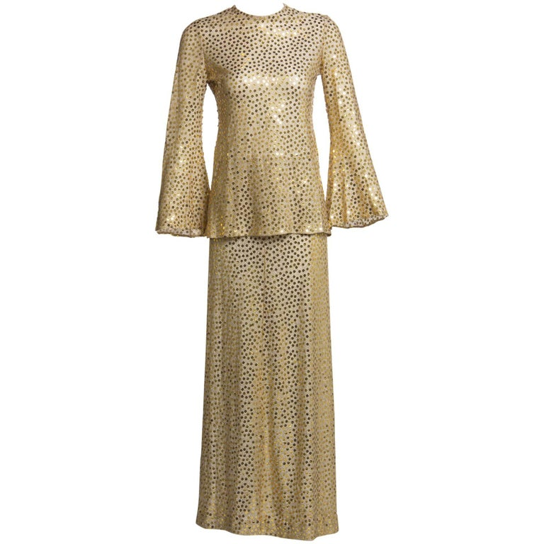 1970s Mollie Parnis Lurex and Sequin Gold Tunic Maxi Skirt Shawl Set Documented
