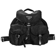 Prada Black Tessuto Nylon & Leather Trim Backpack Bag