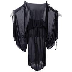 70s Yves Saint Laurent Black Batwing Blouse & Long Skirt Sheer Silk 2pc Set 38