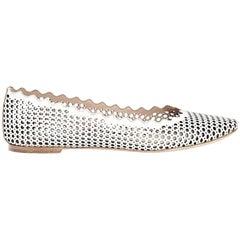 White Chloé Leather Lauren Ballet Flats