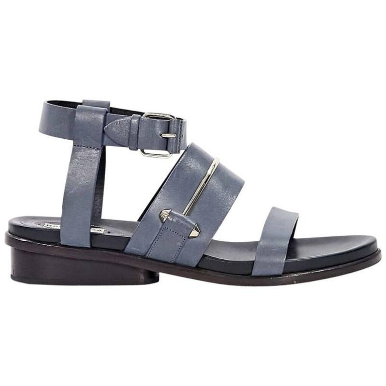 6e459cade Blue Balenciaga Strappy Leather Sandals For Sale at 1stdibs