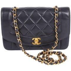 Chanel Vintage Diana Single Flap Bag - dark blue leather 1995