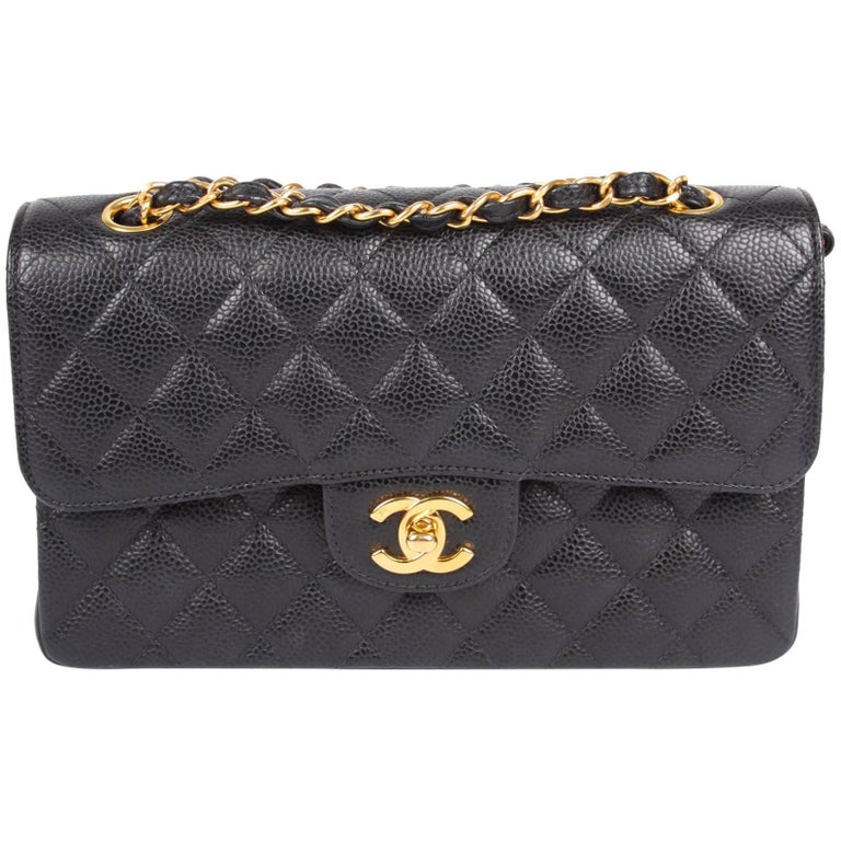 Chanel 2.55 Timeless Small Double Flap Bag - black caviar leather For Sale 42d712d0552dc