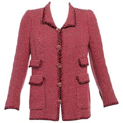 Vintage Chanel Haute-Couture Numbered Red Black Ivory Wool Jacket