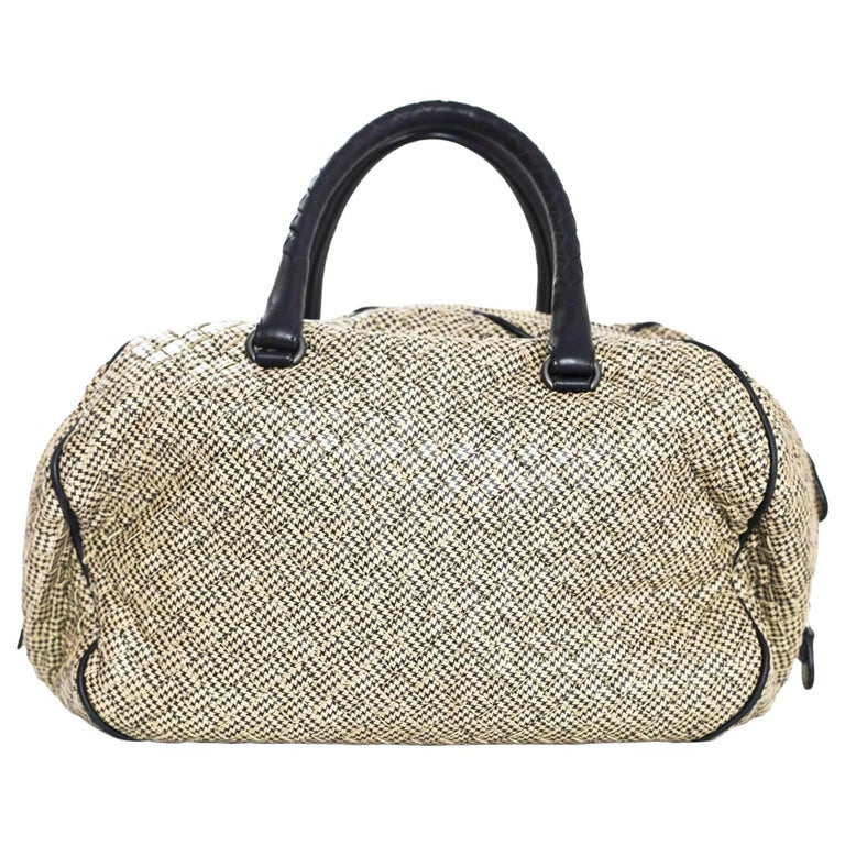 Bottega Veneta Houndstooth Intrecciato Pied de Poule Bowler Bag with DB