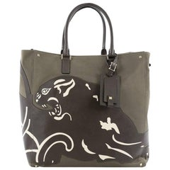 Valentino Panther Tote Canvas with Leather