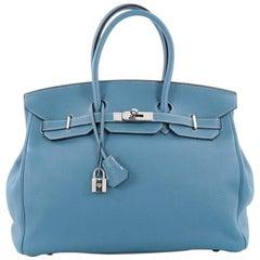 Hermes Birkin Handbag Blue Jean Clemence with Palladium Hardware 35