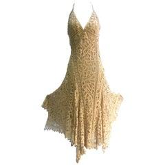 1930's Style Ralph Lauren Black Label Bias Cut Tape Lace Gown. 1990's.