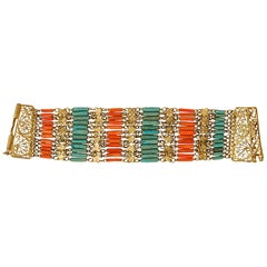 Vermeil Cuff w/ Coral & Turquoise