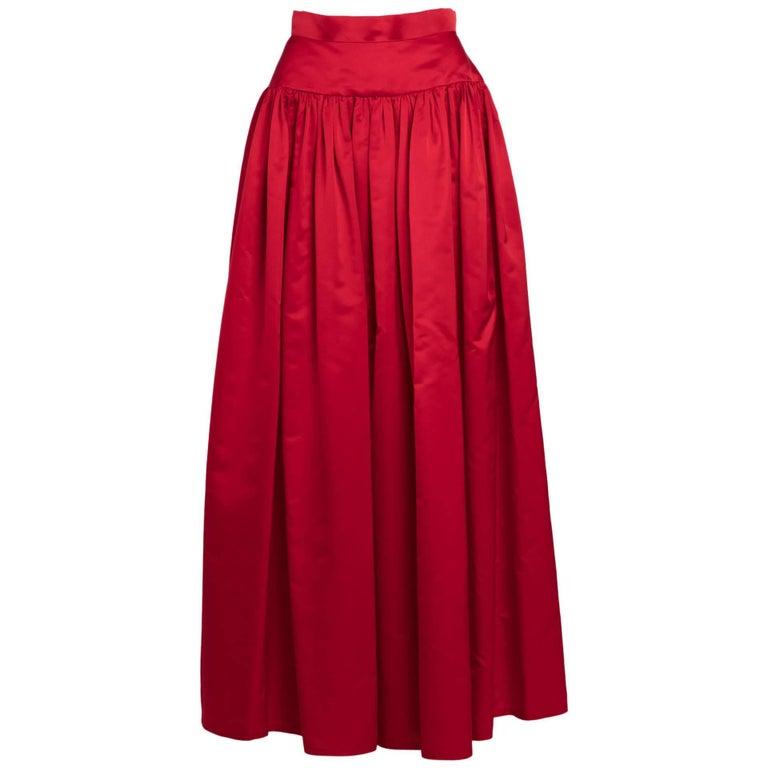 Vintage Bill Blass Crimson Red Satin Ball Gown Skirt at 1stdibs