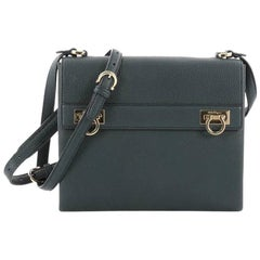 Salvatore Ferragamo Mya Double Lock Crossbody Bag Pebbled Leather