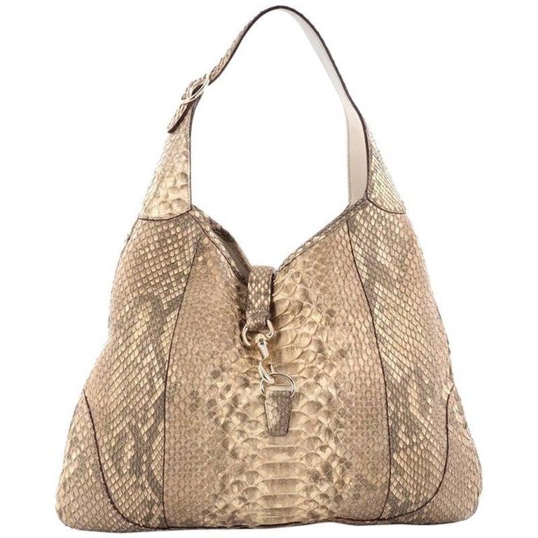 53e6109de947e5 Gucci Jackie O Handbag Python Large at 1stdibs