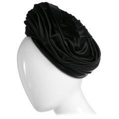 Vintage Christian Dior Black Silk Satin Turban hat