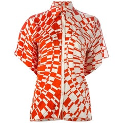 Red Hermes H Logo Print Shirt