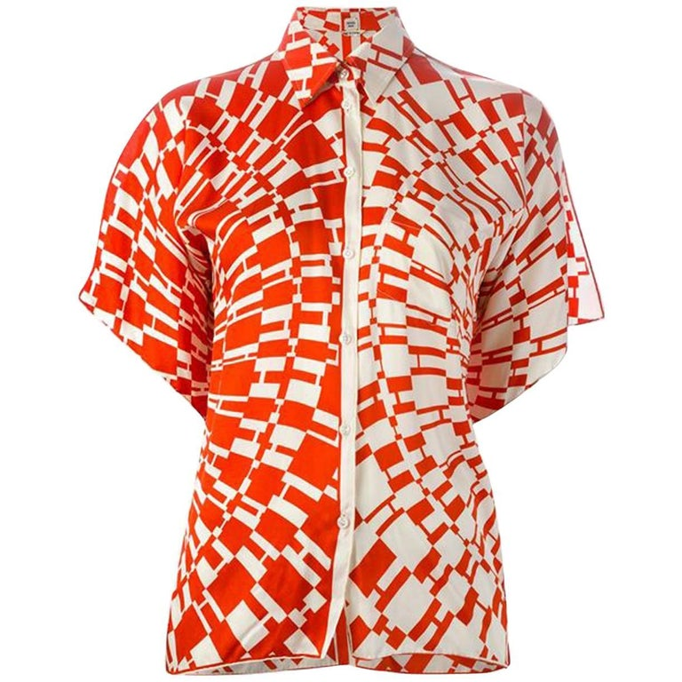 Red Hermes H Logo Print Shirt 1