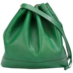 Green Leather Hermes Market Bucket Bag