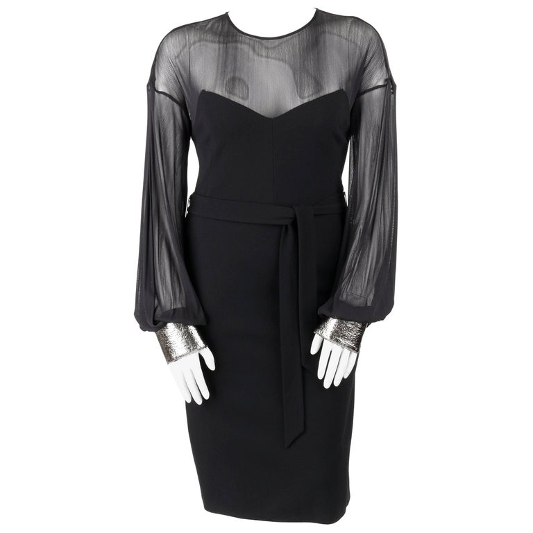 DOLCE & GABBANA A/W 2005 Black Wool Bishop Sleeve Illusion Cocktail Dress + Belt