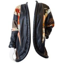 1980s Opulent Kimono Print Leather Jacket