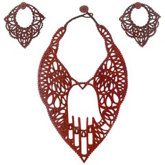 Jean Paul Gaultier 90s  Hamsa Leather Laser Cut Jewelry Ensemble