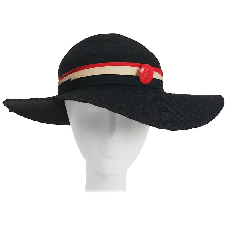 5026fdc2 1930s Black Straw Sun Hat w/ Red and White Silk Ribbon Trim For Sale ...