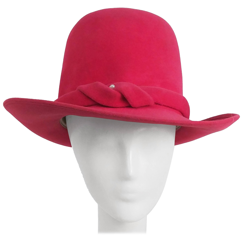 1970s Hot Pink Borsalino Felt Hat