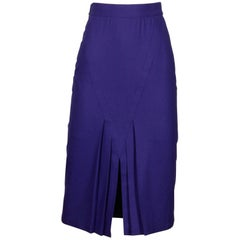 Amen Wardy Vintage 1980s Avant Garde Purple Wool Pencil Skirt with Pleated Slit