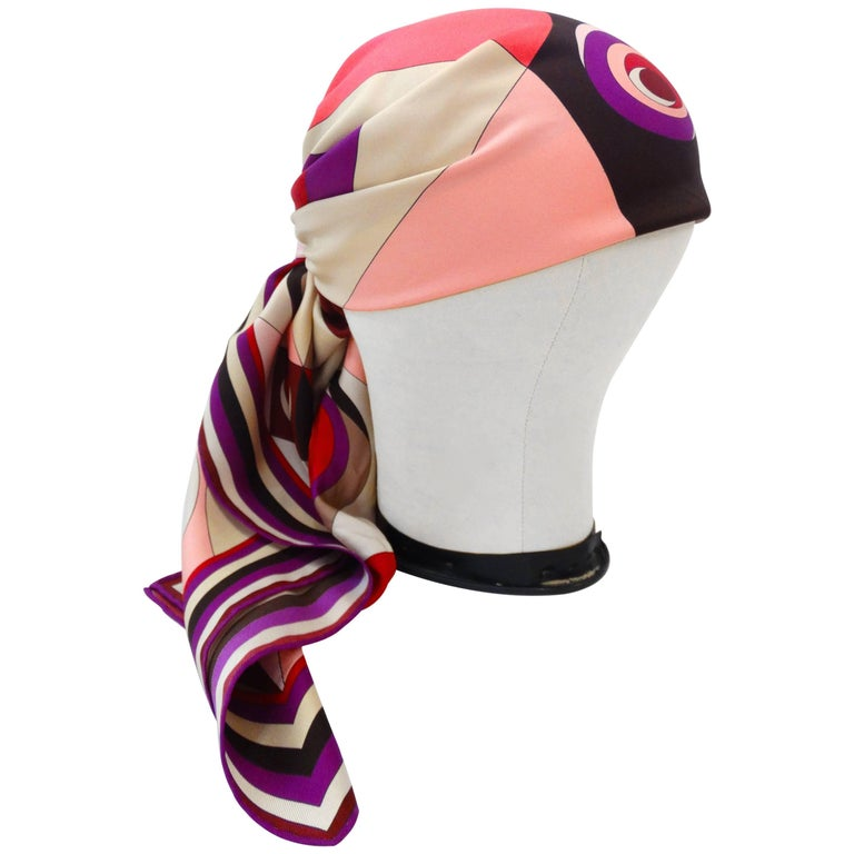 1990s Geometric Pucci Silk Scarf For Sale